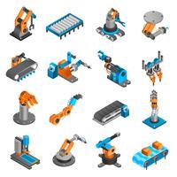 Industriella robot isometriska ikoner