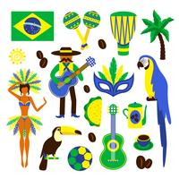 Brasilien dekorativer Satz vektor