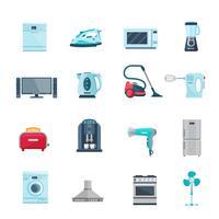 Flache Farbikonen eingestellt von den Haushaltsgeräten