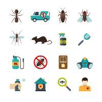 exterminator skadedjurskontroll platt ikoner uppsättning