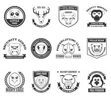Wild Animal Black White Labels Set vektor