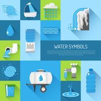 Vatten platt uppsättning vektor