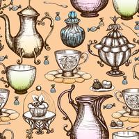 vintage te sömlösa mönster vektor