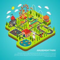 Vergnügungspark Sehenswürdigkeiten Fairground Isometric Banner