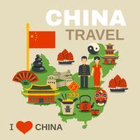 Kinesisk kultur Traditioner Resebyråaffisch vektor
