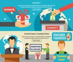 Välgörenhet och donationer Banners Set vektor