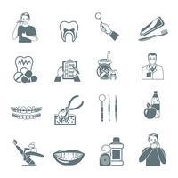 Zahnmedizinische schwarze Ikonen eingestellt
