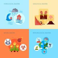 Naturkatastrof 4 platta ikoner torg