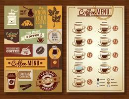 Weinlese-Kaffee-Menü 2 Fahnen Brett