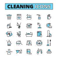 Rengöring Handdragen Icon Set