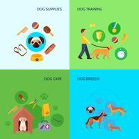 Hund 4 plana ikoner kvadratiska banderoll
