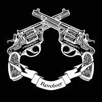 Hand gezeichnete gekreuzte Pistolen mit Band