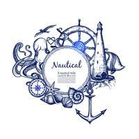 Nautisk marin sammansättning ikon doodle