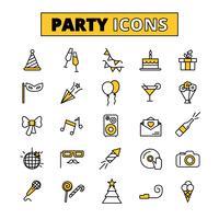 Party piktogram ostlined ikoner uppsättning vektor