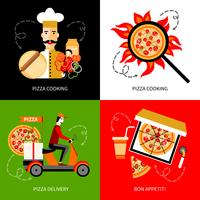Pizza leverans 4 platta ikoner kvadrat vektor