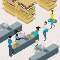 Menschen an der Einkaufszeile Illustration