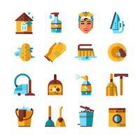 Hauswirtschafts-Reinigungs-flache Ikonen eingestellt
