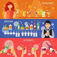 Cocktailparty-Nachtbar-Flache Fahnen