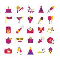 Födelsedagsfest ikoner uppsättning