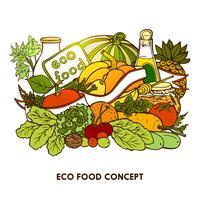 Hand gezeichnetes Eco-Lebensmittelkonzept vektor