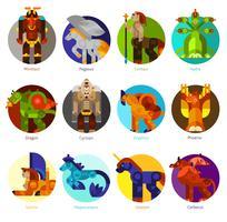 Mytiska varelser ikoner uppsättning