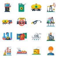 Ölindustrie Icons Set vektor