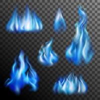 Blå Fire Transparent Set vektor