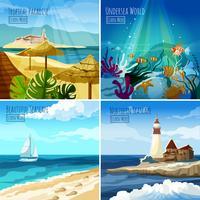 seascape illustrationer uppsättning vektor