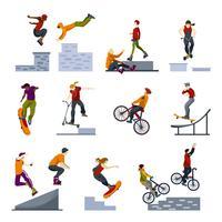 Extrema stadsporter platt ikoner uppsättning