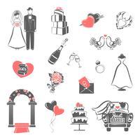 Bröllop konceptet svart röd ikoner uppsättning