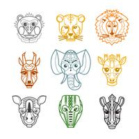 Afrikanska Djur Heads Masker Line Icons vektor