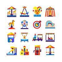 Nöjespark ikoner sätta