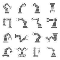 Roboterarm-schwarze Ikonen eingestellt