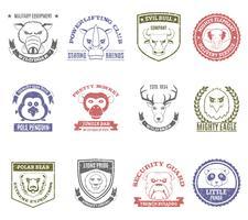 vilda djur frimärken uppsättning vektor