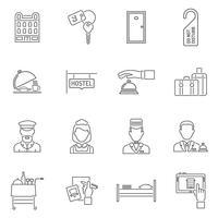 hotell ikoner linje uppsättning