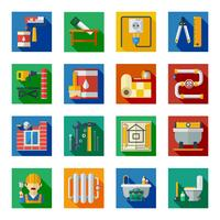 Hemreparation Flat Square Icons Set