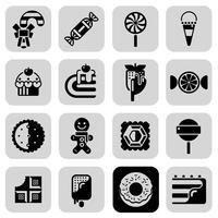 Süßigkeiten schwarz weiß Icons Set