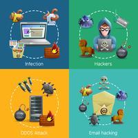 Hacker-Cyber-Angriffs-Ikonen-Konzept vektor