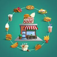 Fastfood-Restaurant-Piktogramme-Kreis-Zusammensetzungs-Fahne