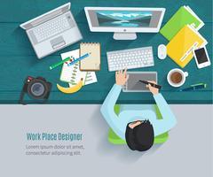 Designer arbetsplats platt vektor