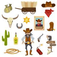 Cowboy Ikoner Set vektor