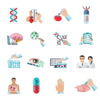 Platta färg bioteknik ikoner uppsättning vektor