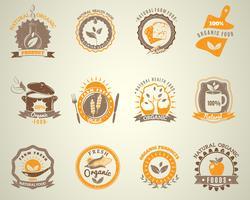 Ekologisk mat vintage stil etiketter uppsättning