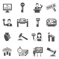 Auction Black White Icons Set vektor