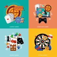 Flaches Ikonenquadrat der spielenden Spiele 4