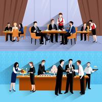 Geschäftsleute essen 2 Fahnenzusammensetzung zu Mittag
