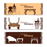 Handdragen Vintage Möbler Horisontella Banderoller