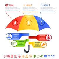 Regenschirm Infografiken Set vektor
