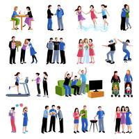 Vänner kompisar aktiviteter platta ikoner uppsättning