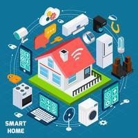 Isometrische Konzeptfahne des intelligenten Ausgangs Iot